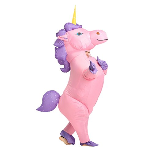 Adult Unisex Inflatable Unicorn Halloween Party Costumes Full Face Walking Suits