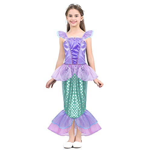 Alvivi Kids Girl Mermaid Princess Sequins Dresses Costume Halloween Cosplay Party Dress with Tail