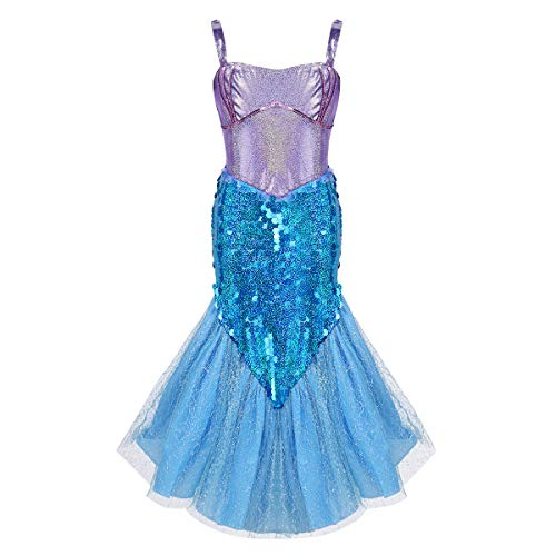iiniim Kids Girls Sequin Mermaid Princess Costumes Halloween Cosplay Fancy Dress Party Outfit