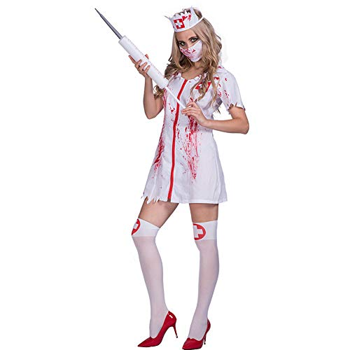 Amazingdeal Halloween Nurse Costume Bloody Masquerade Women Adult Party Cosplay Dress