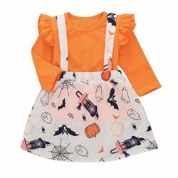 Baby-Halloween-DressLittle-Girls-Long-Sleeve-Tops-Strap-Skirt-2-Piece-Casual-Outfits-Set-0
