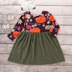 Baby-Toddler-Kids-Girl-Long-Sleeve-Pumpkin-Splice-Halloween-Dress-Party-Clothes-Dresse-0-0
