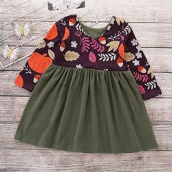 Baby-Toddler-Kids-Girl-Long-Sleeve-Pumpkin-Splice-Halloween-Dress-Party-Clothes-Dresse-0-2