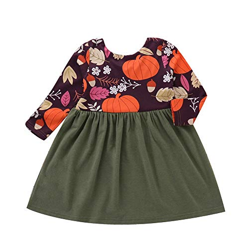Baby Toddler Kids Girl Long Sleeve Pumpkin Splice Halloween Dress Party Clothes Dresse