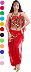 Belly-Dance-Outfit-Costumes-Set-India-Dance-Outfit-Top-Veil-Pants-Red-0