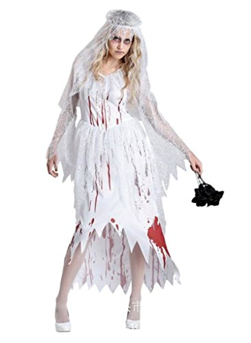 COMVIP Halloween Bloody Ghost Bride Cosplay Dress Costume White