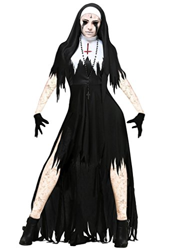COMVIP Halloween Gothic Dreadful Bloody Cosplay Hat Dress Costume