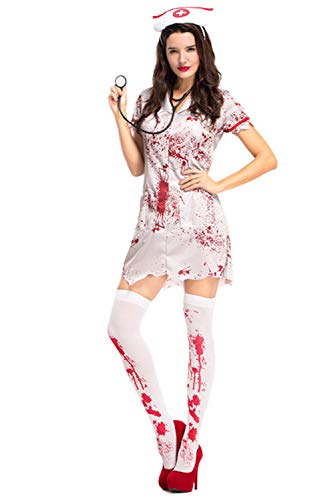 COSMOVIE Horror Halloween Costumes for Women Bloody Nurse Dresses Cosplay Suit with Headwear, Stethoscope