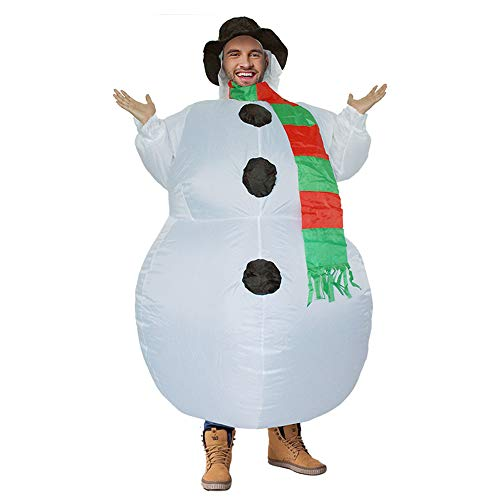 Christmas Adult Children Inflatable Snowman Costume, Unisex Party Fancy Dress Blow Up Holiday Costume