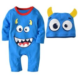 Clearance-Baby-Halloween-Cute-Romper-Boys-Girls-Cartoon-JumpsuitHat-Set-Outfit-0