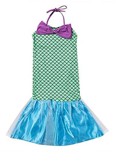 Combclub Kids Gril's Cute Sequins Little Mermaid Dress Halter Bowknot Princess Dress Cosplay Costume Halloween