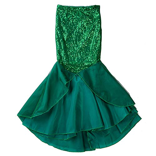 DPROMOT Toddler Girls Sequins Little Mermaid Tail Costume Fish Tail Halloween Outfits Girls Princess Clothes Halloween