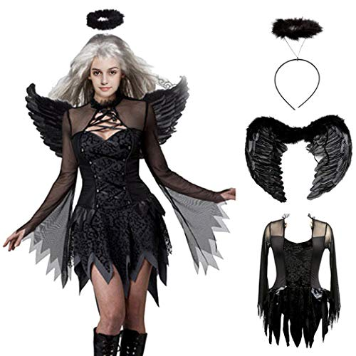 Devil Black Fallen Angel Dress Sexy Halloween Costumes for Women Cosplay Suits