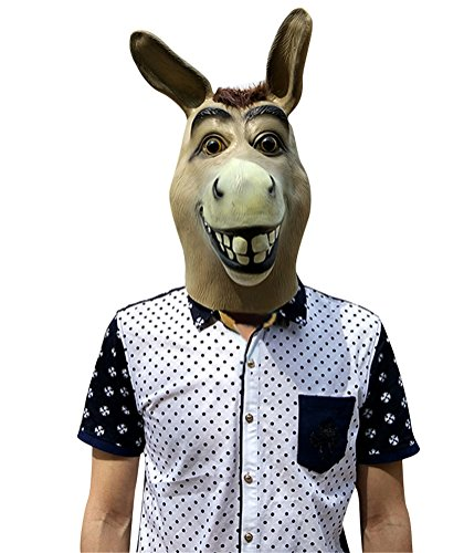 Donkey Mask Latex, Realistic Funny Halloween Animal Costume Cosplay Headgear