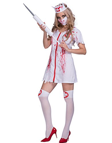 DressVoguer Women's Zombie Nurse Costume Halloween Horror Bloody Ghost Cosplay for Adult