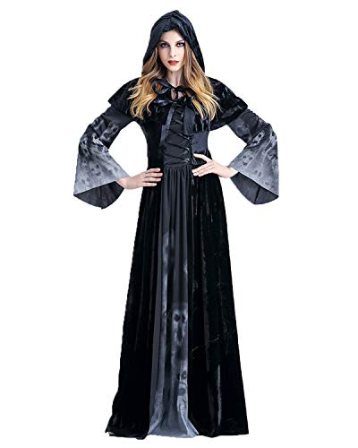 ENQI TRADE Women's Halloween Ghost Witch Hooded Costume Cloak Dress Outfit Black