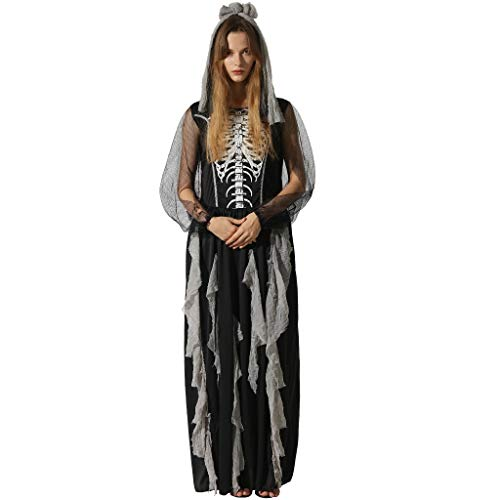 EraSooky Women Skeleton Zombie Bride Costumes Halloween Cosplay Fancy Party Dress with Hair Band