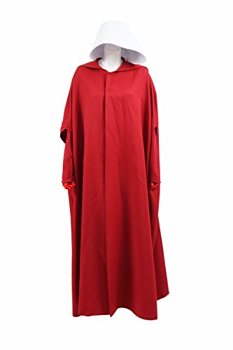 VOSTE Handmaid Costume Halloween Cosplay Women Long Maxi Casual Dress with Cloak