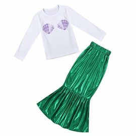 FEESHOW-Girls-Little-Mermaid-Halloween-Costume-Long-Sleeve-Seashell-Top-Shirt-with-Tail-Skirt-Outfit-0-1