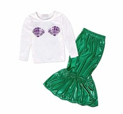 FEESHOW-Girls-Little-Mermaid-Halloween-Costume-Long-Sleeve-Seashell-Top-Shirt-with-Tail-Skirt-Outfit-0