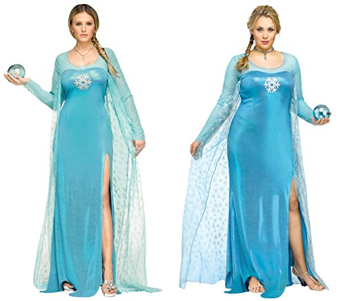 Faerynicethings Adult Size Ice Queen – Blue Frozen Costume Regular Plus