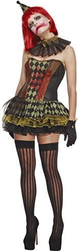 Fever Women's Creepy Zombie Clown with Dress Hat Cuffs and Collar
