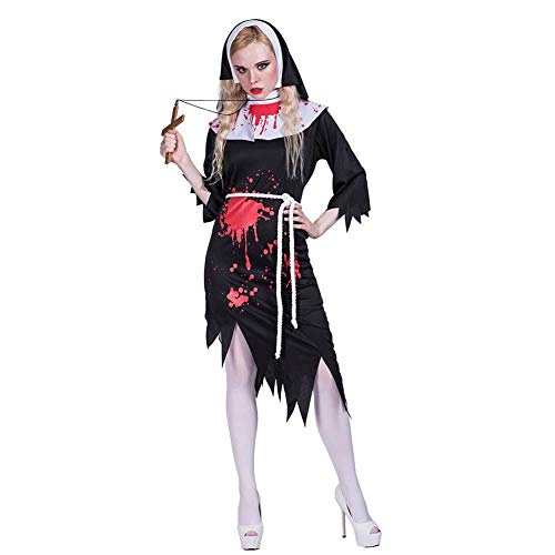 Forart Women's Zombie Nun Costume Horror Set Halloween Bloody Stage Costume