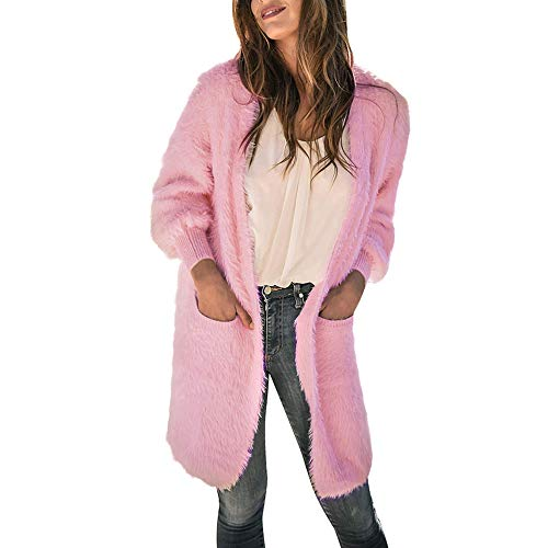 Forthery-Women-Knit-Cardigan-Open-Front-Draped-Pocket-Coat-Faux-Fur-OuterwearPink-Small-0