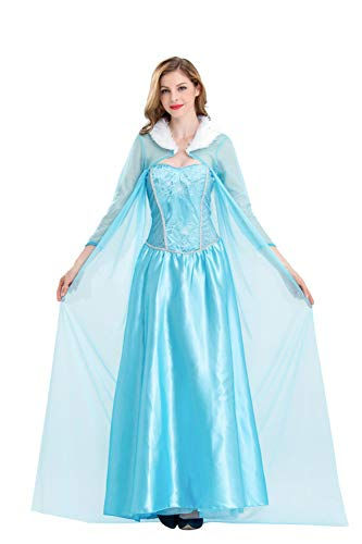 Frozen Elsa Princess Cosplay Dress Female Halloween Costume Silk Party Costume Light Blue Color