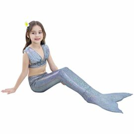 Girl-3Pcs-Mermaid-Tail-Swimmable-Bikini-Set-Bathing-Suit-Swimwear-Halloween-Costume-0-2