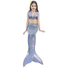 Girl-3Pcs-Mermaid-Tail-Swimmable-Bikini-Set-Bathing-Suit-Swimwear-Halloween-Costume-0