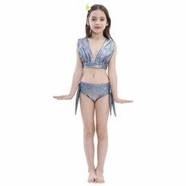 Girl-3Pcs-Mermaid-Tail-Swimmable-Bikini-Set-Bathing-Suit-Swimwear-Halloween-Costume-0-4