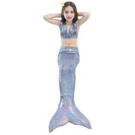 Girl-3Pcs-Mermaid-Tail-Swimmable-Bikini-Set-Bathing-Suit-Swimwear-Halloween-Costume-0-6