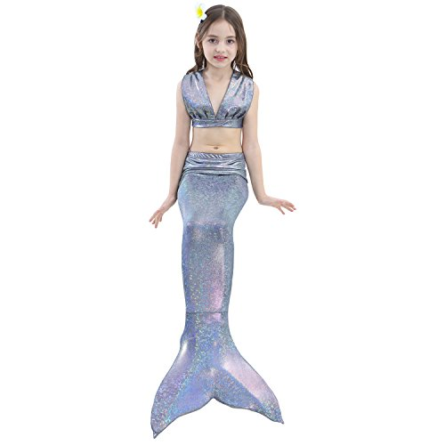 Girl 3Pcs Mermaid Tail Swimmable Bikini Set Bathing Suit Swimwear Halloween Costume