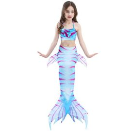 Girl-3Pcs-Mermaid-Tail-Swimmable-Halter-Bikini-Set-Bathing-Suit-Swimwear-Halloween-Costume-0-1