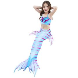Girl-3Pcs-Mermaid-Tail-Swimmable-Halter-Bikini-Set-Bathing-Suit-Swimwear-Halloween-Costume-0-2