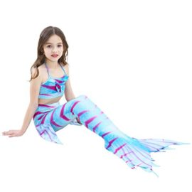 Girl-3Pcs-Mermaid-Tail-Swimmable-Halter-Bikini-Set-Bathing-Suit-Swimwear-Halloween-Costume-0-3