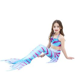 Girl-3Pcs-Mermaid-Tail-Swimmable-Halter-Bikini-Set-Bathing-Suit-Swimwear-Halloween-Costume-0-8