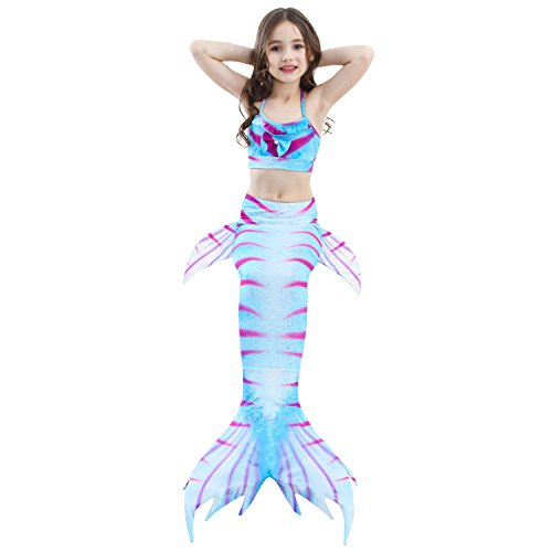 Girl 3Pcs Mermaid Tail Swimmable Halter Bikini Set Bathing Suit Swimwear Halloween Costume