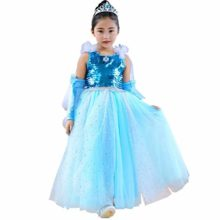 Girl-Sequin-Princess-Anna-Elsa-Tutu-Dress-Halloween-Costume-Cosplay-0