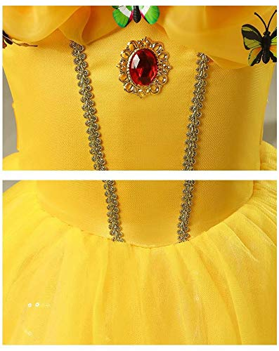 Girls-Princess-Belle-Anna-Costume-Halloween-Dress-Party-Gowns-For-3-12Y-0-1