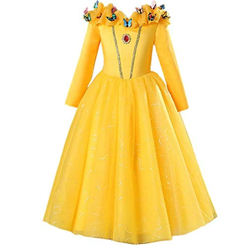 Girls-Princess-Belle-Anna-Costume-Halloween-Dress-Party-Gowns-For-3-12Y-0