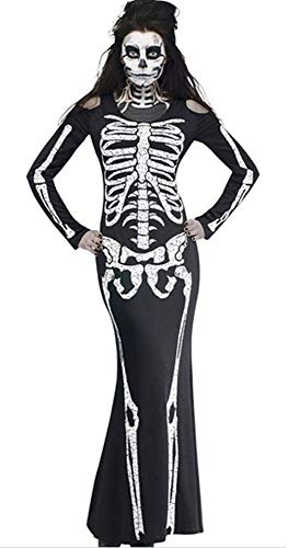 Greenis I'm Invisible Costume Stretch Women Skeleton Dress for Halloween Cosplay