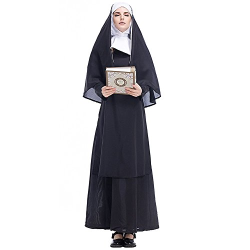 H&ZY Women Halloween Black Medieval Nun Costume Adult Hood Plus Size Robe Cosplay Dress