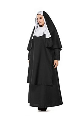 HZY-Womens-Halloween-Black-Medieval-Nun-Robe-Costume-Cosplay-Dress-Cloak-Plus-Size-0-2