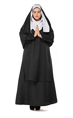 H&ZY Women's Halloween Black Medieval Nun Robe Costume Cosplay Dress Cloak Plus Size