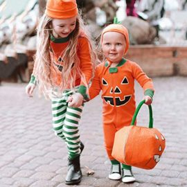 Halloween-Clothes-SetsPumpkin-Long-Sleeve-Cute-Tops-Striped-Pants-Cap-Pajamas-0-2
