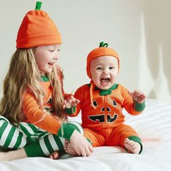 Halloween-Clothes-SetsPumpkin-Long-Sleeve-Cute-Tops-Striped-Pants-Cap-Pajamas-0-3