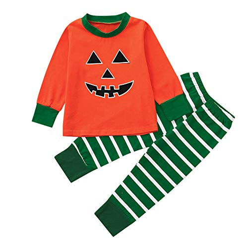 Halloween Clothes Sets,Pumpkin Long Sleeve Cute Tops Striped Pants Cap Pajamas