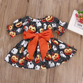 Halloween-Costume-Outfits-Toddler-Infant-Baby-Girl-Pumpkin-Ghost-Print-Belt-Dresses-0-0